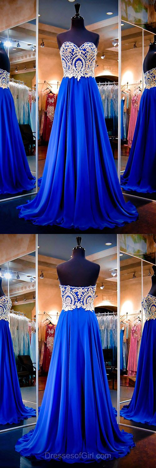 Royal Blue Prom Dresses, Affordable A-line Formal Dresses, Sweetheart Chiffon Party Gowns, Beading Evening Dresses, Long Homecoming Dresses