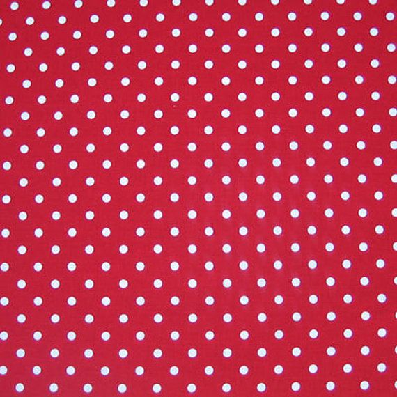 White on Red Polka Dot Fabric Red and White by fabricandribbon