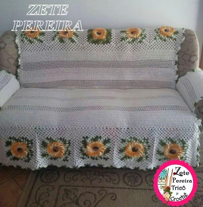 Zete Pereira Tricô e Crochê: Capa para sofá em crochê