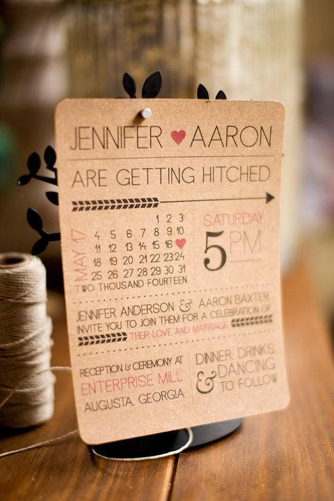 Rustic modern fun printable wedding invitation with calendar style date and customizable colors on Etsy, $30.00
