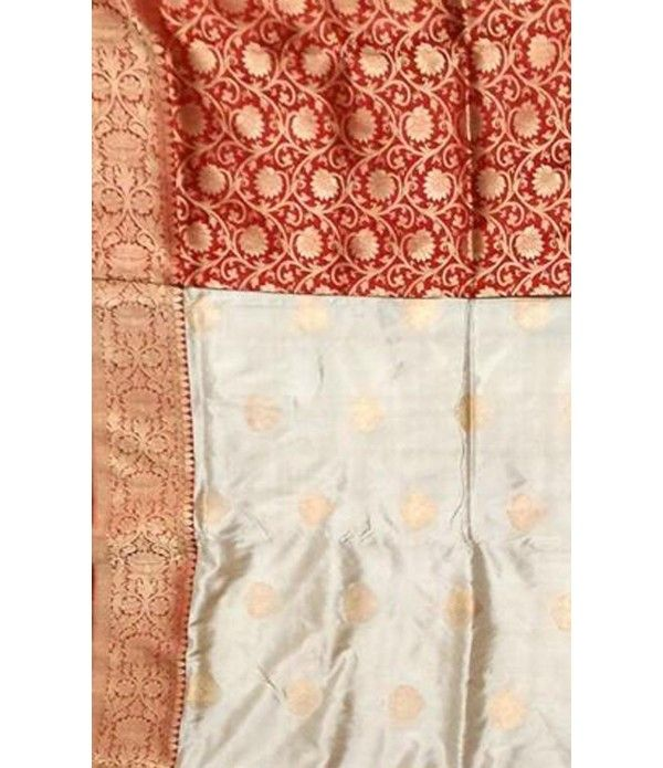 Offwhite and Red Banarasi Handloom Katan Silk Saree