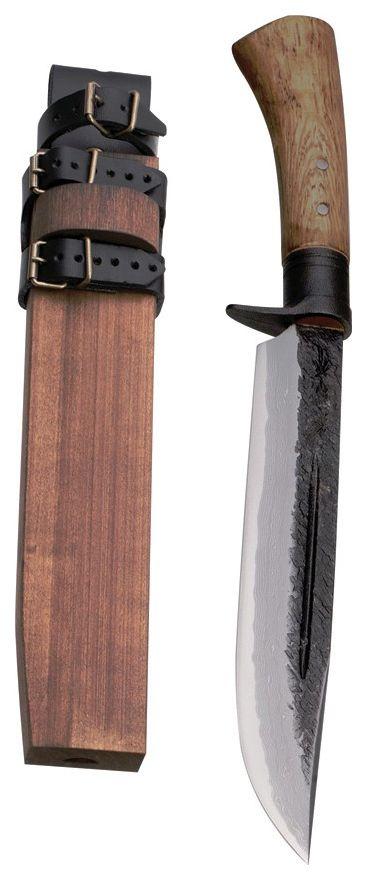 Kanetsune - Waza, 9.45 in. 15 Layer Damascus Fixed Blade Knife, Oak, Wooden Sheath