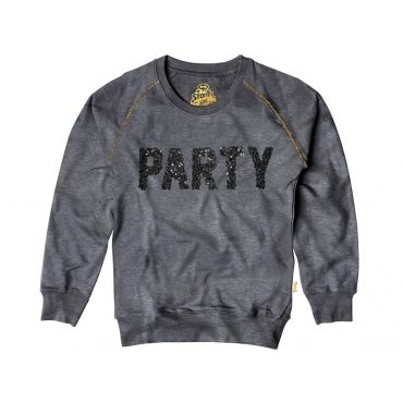 Grijze sweater met glitterprint PARTY - Mister Monkey and Misses Butterfly - Stones and Bones - Maat 92 tem Maat 128 - Meisjes - SS16