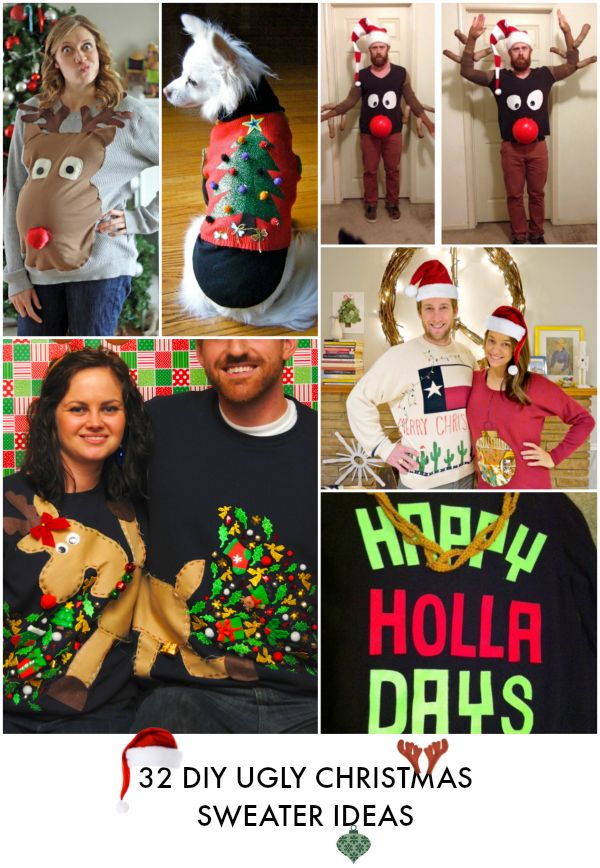 32 DIY Ugly Christmas sweaters for everyone! Pregnant peeps, babies, couples, and even ugly sweaters for dogs! AWESOME LIST!