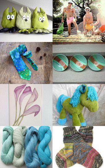 PERFECT FOR GIFT GIVING! by Trish Regan ( Ashira ) on Etsy #green #blue #turquoise #handmade #stuffednaimals #horse #pony #wildhair socks #tie #owl #linen #yarn #pottery #bowl #mint #seafoam #aqua #backpack #beachwear