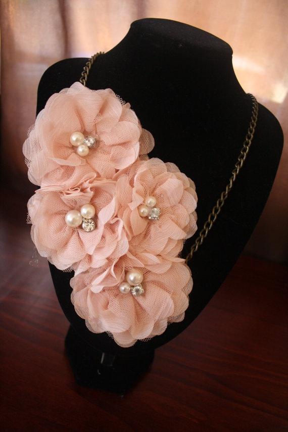 Custom necklace  chiffon flowers by MaddLola on Etsy, $40.00
