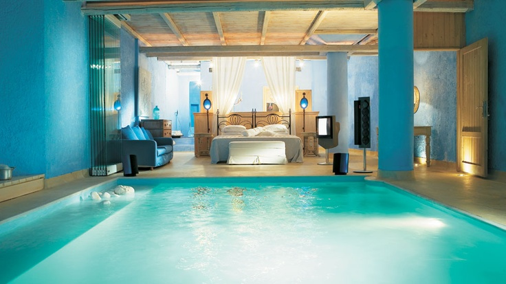 Mykonos blue luxury hotel luna blu suite with private indoor pool is the most extravagant - Unique indoor swimming pools ...