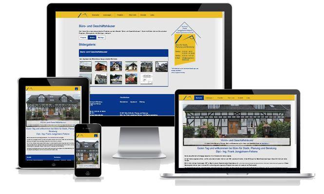 Internetauftritt im responsive Design für Architekt und Statiker Frank Jungjohann - Feltens in Nümbrecht.
