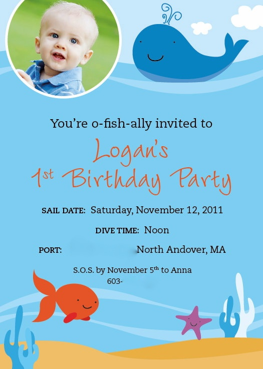 Best Fish Birthday Party Images On Pinterest Birthday Party - Goldfish birthday invitation