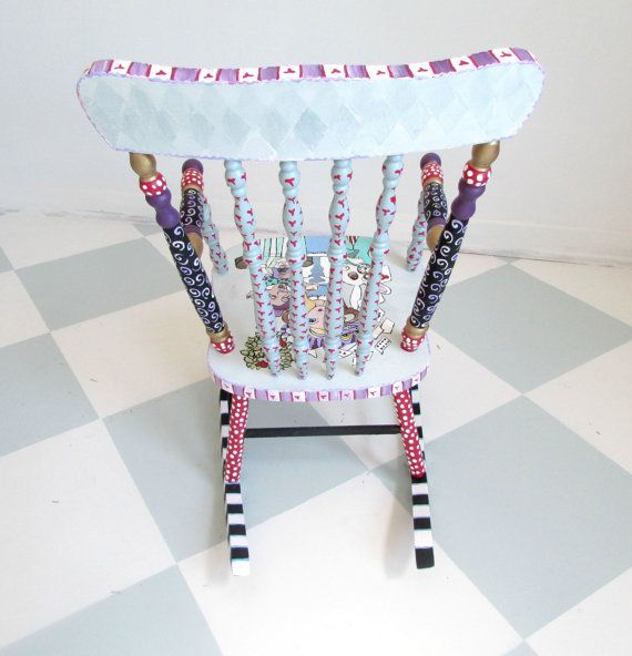 Alice in Wonderland Child Rocking Chair Ready to by whimsyburd