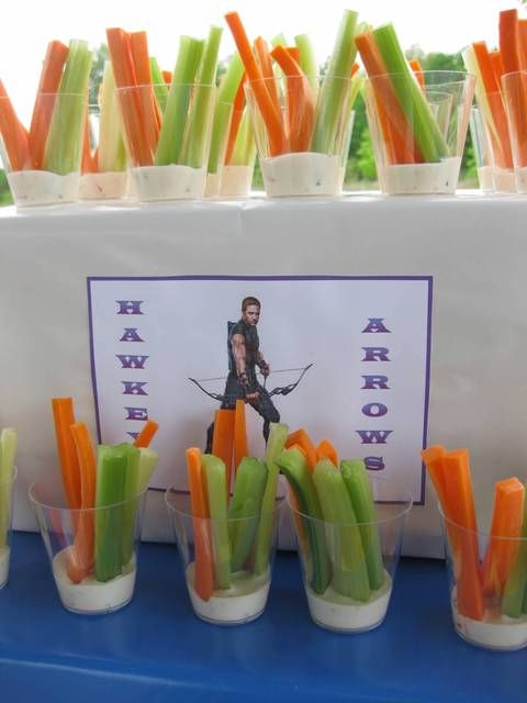 Hawkeye Arrows - ranch w/ carrots and celery at an Avengers Party #avengers #partyfood