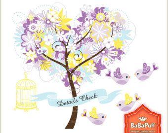 Árbol de corazón púrpura flor amarilla y pájaros del amor Clip Art, para su tarjeta de invitación de boda que hace. Uso personal y pequeño comercial. BP 0484