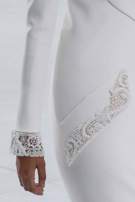 Beaded lace sleeve cuffs and pocket trim; white on white embroidered fashion details // Chanel Couture Fall 2014