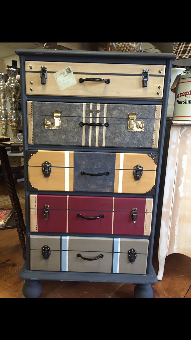 Drawers painted to look like suitcases. I used AS graphite, cream, Paris grey, Arles, burgundy, old white.