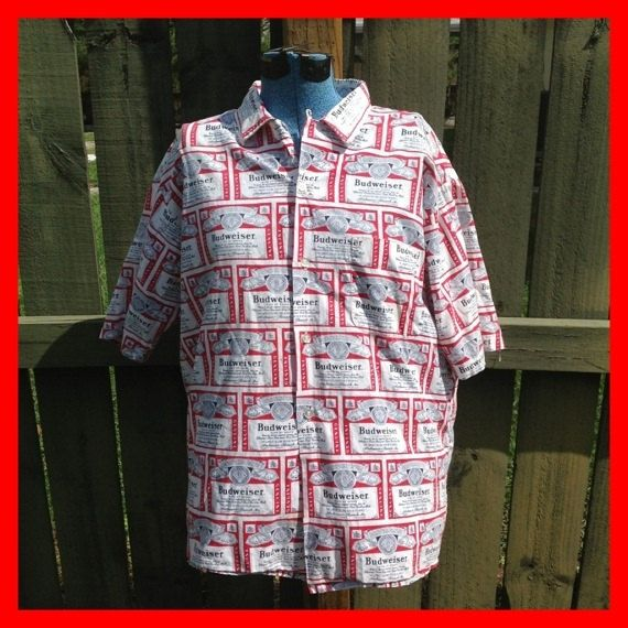 VINTAGE 1970's BUDWEISER BEER shirt-- short sleeve - ready to relax in - bud beer -. $42.75, via Etsy.