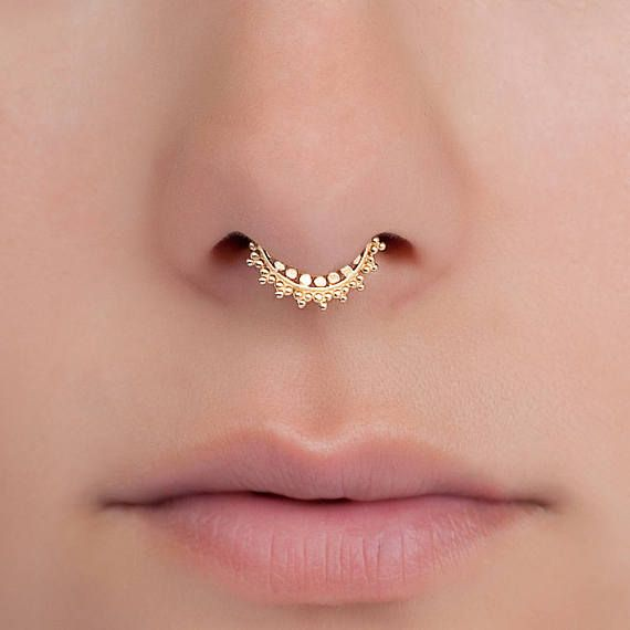 Tiny Septum Ring For Pierced Nose. Indian Septum Ring. Gold Septum Ring. Gold Septum Jewelry. Tribal Septum Ring