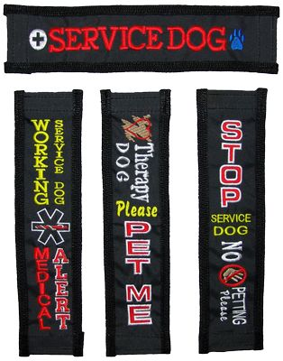 Service Dog Identification Strap Cover - I can't choose...I like the plane simple Service Dog one but also the Medical Alert and the Stop No Petting