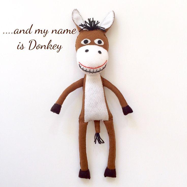 Handmade toy - felt toy - felt donkey  - gift - toy - plushie - felt plushie - toy donkey - donkey plush by EverSewNice on Etsy https://www.etsy.com/listing/292075237/handmade-toy-felt-toy-felt-donkey-gift