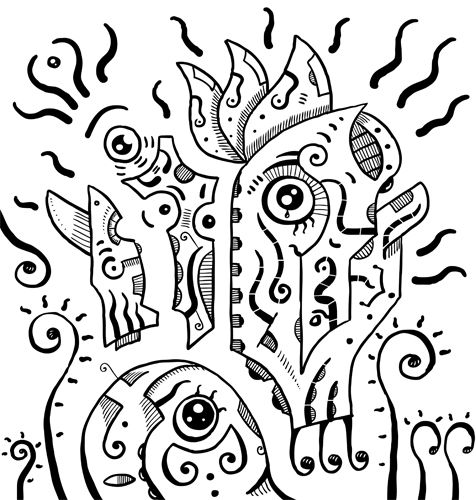 #Surreal #eyes, black & white drawing of a weird eyes. Automatic #drawing of a subconscious mind. #Primitive #surrealism