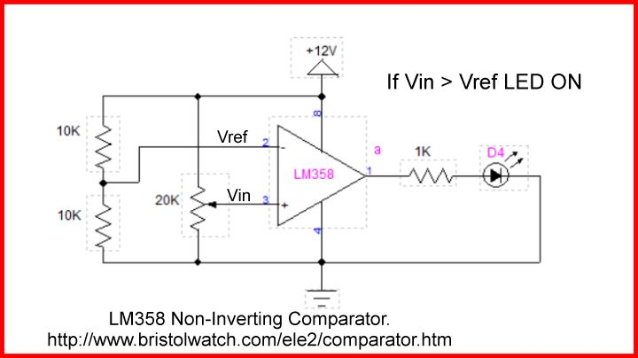 LM358 op-amp comparator with external NPN open collector output.