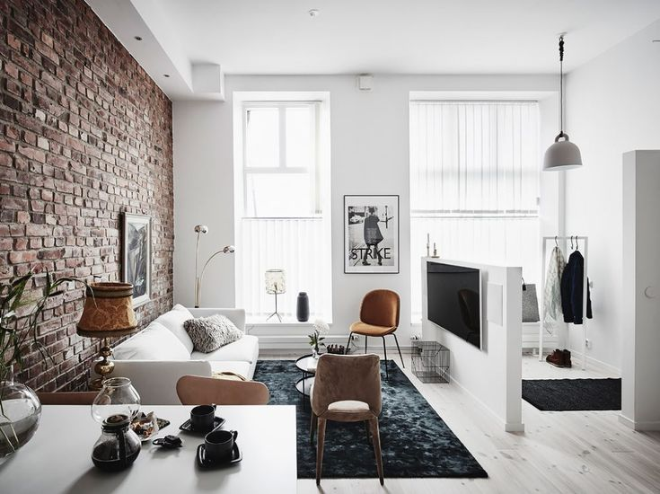 Living room with a brick wall