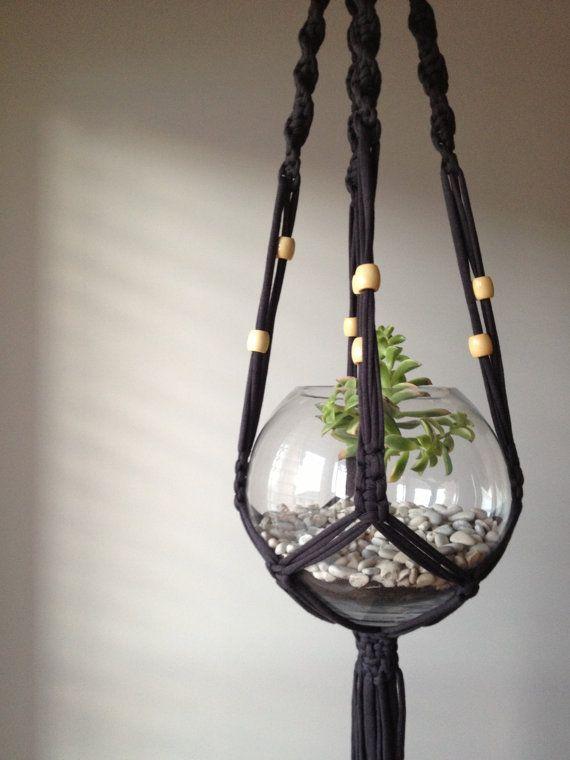 custom t-shirt macrame plant hanger by pipnihandmade
