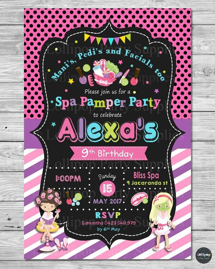 Spa / Pamper Party Personalised Invitation - Digital or Printed - Ship worldwide!  Visit www.lollipoppartysupplies.com.au