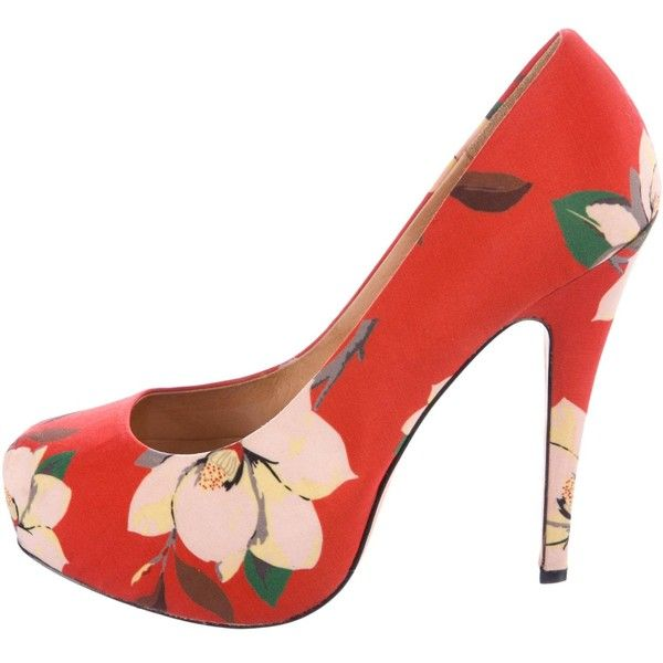 Pre-owned Vivienne Westwood Floral Print Platform Pumps ($85) ❤ liked on Polyvore featuring shoes, pumps, orange, flower print shoes, platform shoes, patterned pumps, floral shoes and print pumps