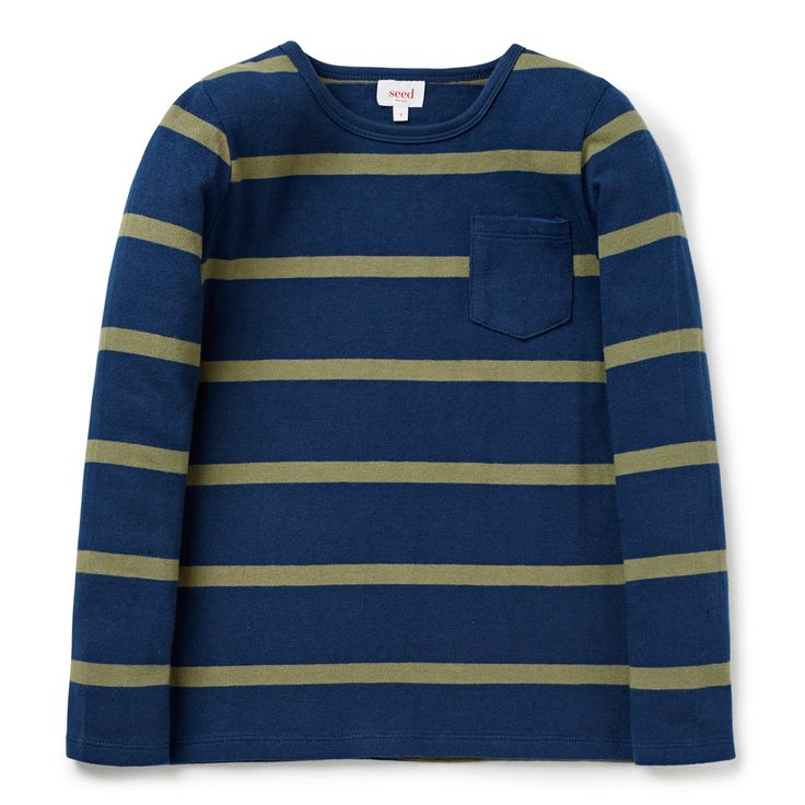 100% Cotton Tee. Long sleeve t-shirt, in all over yarn dyed stripe front with front patch pocket. Regular fitting silhouette. Available in River Blue.