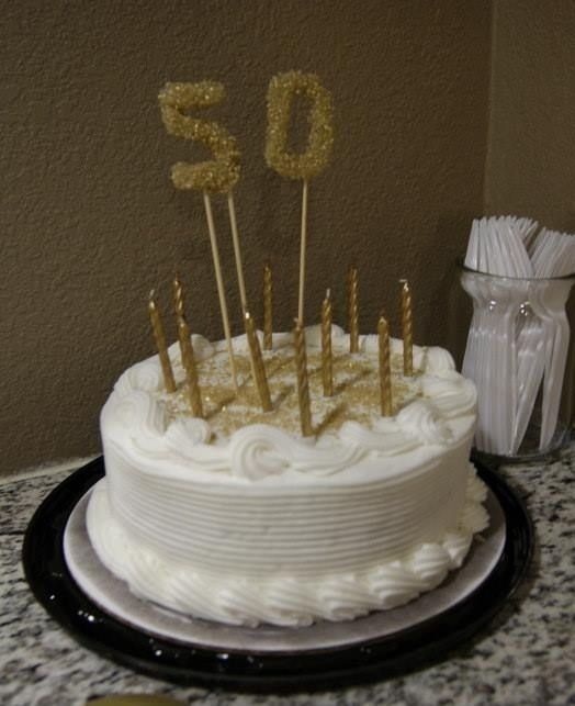 50th Birthday Cake Topper Made With Hot Glue And Glitter Sugarendless Customizable Possibilities