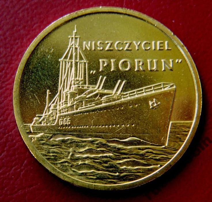 2 злотых Военные корабли эсминец Перун 2 Zloty Piorun Niszczyciel