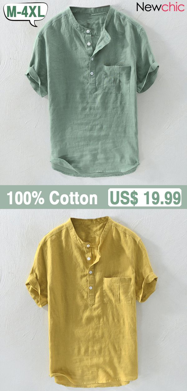 c1330e3b3 Mens 100% Cotton Breathable Vintage Chinese Style Solid Color Loose Casual  Buttons T Shirts