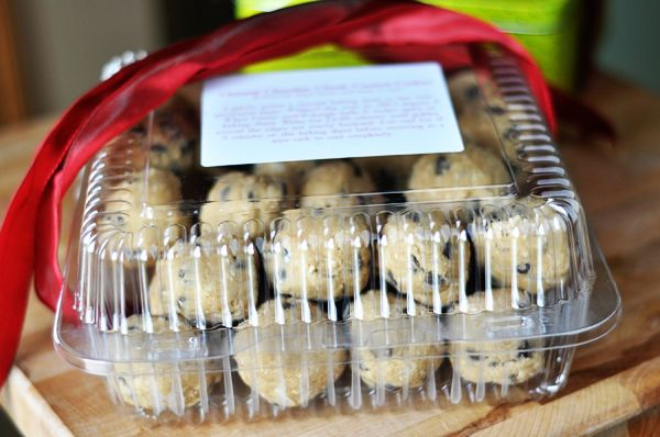 Give frozen homemade cookie dough instead of overloading with already made goodies...that way they can enjoy whenever. Attach a greeting card with baking instructions. -- so smart! good for holidays or even for families with new babies. <--