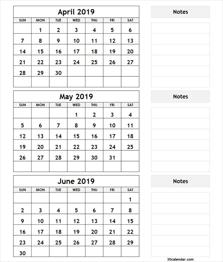 3 Month April May June 2019 Calendar | 2019 Monthly ...