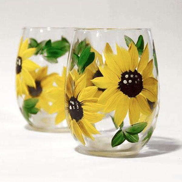Sunflower Wine Glasses, Hand Painted Stemless Wine Glasses, Set of 2
