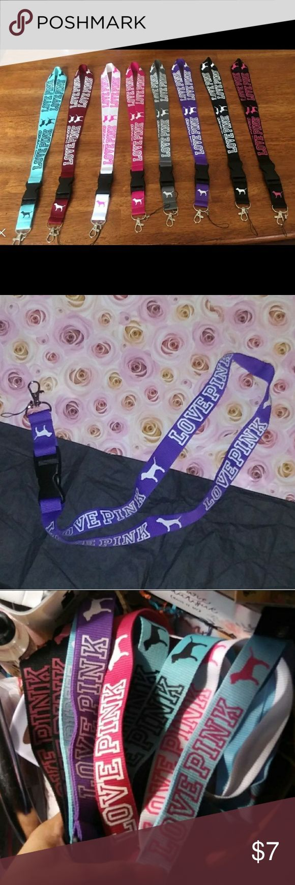 VS PINK LANYARD💜$7TODAY&TWMORW ONLY!💌 Brand New💞Victoria Secret PINK Lanyard!  💜This Listing is for the PURPLE&WHITE VS PINK LANYARD N Pic 2, I HAVE MANY OTHER COLORS TO CHOOSE FRM AS WELL AS SOME NEW COLORS I JUST GOT IN (PIC 1):)💞COLORS💞 💜BLACK&PINK💜PINK&WHITE💜TEAL&BLACK 💜WHITE&PINK💜MAROON&WHITE💜GRAY&WHITE 💜PURPLE&WHITE💜BLACK&WHITE 💜(1 Left)LITE BLUE/TEAL&PINK ☁PRICE IS FIRM ON THESE AS THIS IS THE LOWEST I CAN DO☁PLEASE REMEMBER $3 IS TAKEN OFFTOTAL!❤AS A SMALL GIFT U WILL…