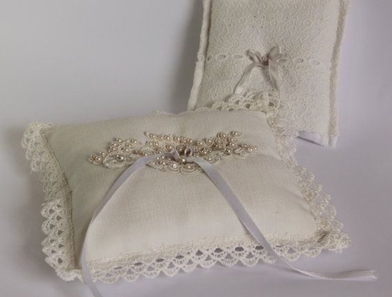 rustic ivory lace pillow / wedding decor / by cornerofthegarden, $50.00