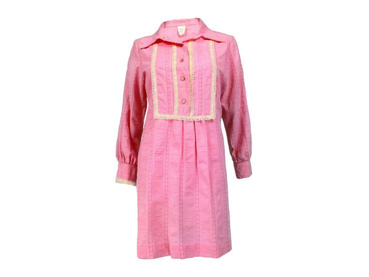 Vintage Clothing Vintage Dresses Vintage Mini Dresses Pink Mini Dress 60s Dresses 1960s Mod Boho Long Sleeves Sz L-XL by DustyButterflyShop on Etsy