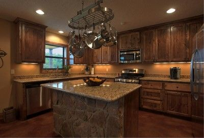 modern silver rings barndominium kitchen dk wood  Dream home