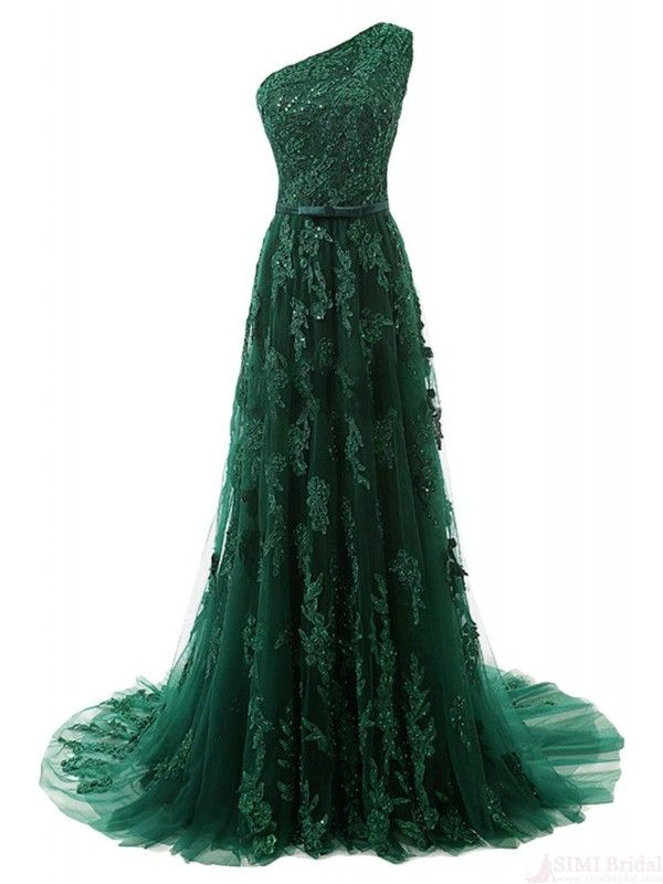 A Line Green Applique One Shoulder Long Prom Dresses Evening Dresses #promdresses #SIMIBridal