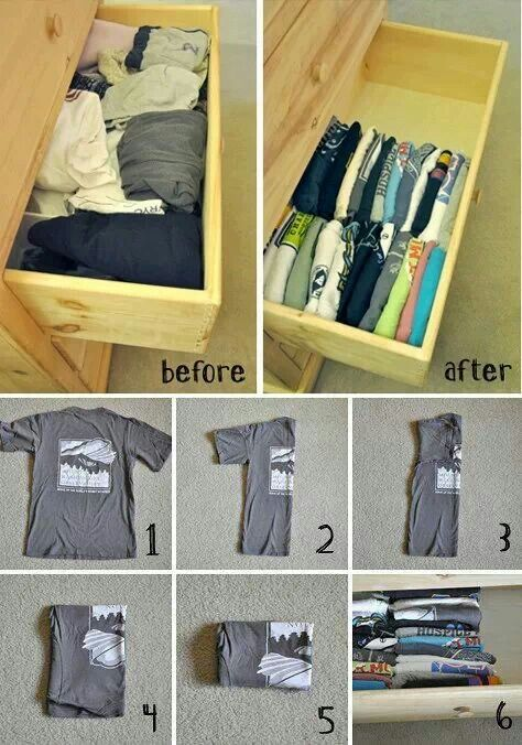 organizing a shirt drawer