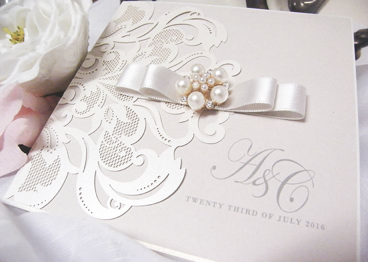 Laser Cut Luxury Wedding Invitation. Champagne Satin Ribbon, Pearl Cluster Pocketfold Satin and Pearl. Luxury Wedding, Deluxe Invitations, Couture Wedding