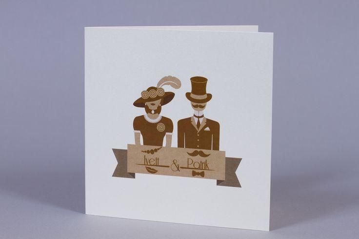 Retro esküvői meghívó, retro wedding invitation