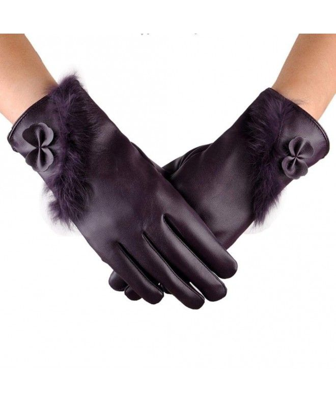 f979a93675ef4 Womens Touchscreen Texting Driving Waterproof Winter Warm Leather Gloves -  Purple - CD188HCAHCZ