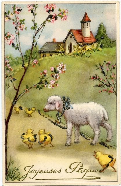 A charming vintage French Easter postcard. #vintage #Easter #postcards #lambs