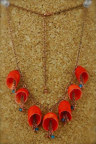 Hand-dyed silk cocoons, glass beads, copper wire and beads, copper plated chain