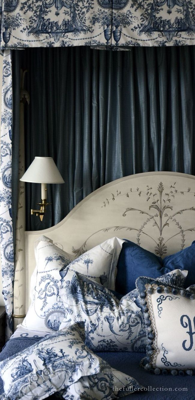 Blue and white bedroom - With Blue French Toile Bedding Z Blue White Bedroomsblue