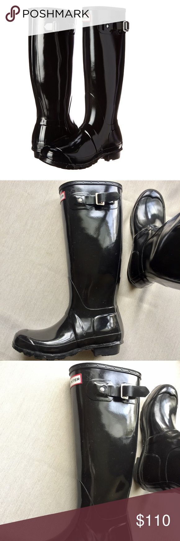 """Black gloss tall hunter rain boots Black gloss tall hunter rain boots in good used condition. Size 6. Please feel free to ask questions. Rubber sole Approx. 15.75"""" boot shaft height Approx. 14.5"""" boot shaft circumference Approx. 1"""" heel height Hunter Boots Shoes Winter & Rain Boots"""