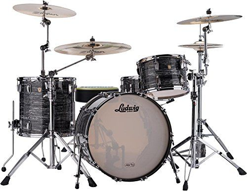 "Ludwig ""Classic Maple 3-Piece Shell Pack with 24"""" Bass Drum Vintage Black Oyster Pearl"""
