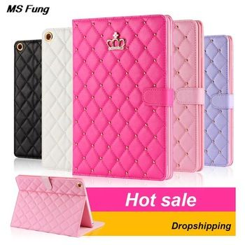 For ipad mini 1 2 3 Luxury Crown Leather Case Stand Cover High Quality